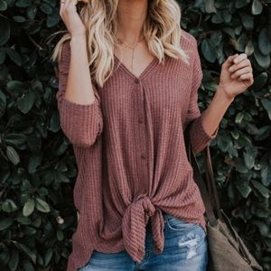 Tops - NEW  Knit Button Down Knotted Sweater Top